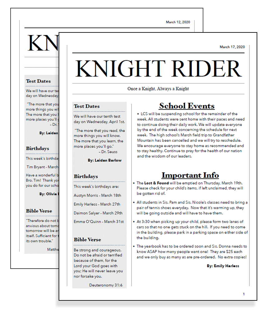 Knight Rider LCS Newspaper | Student Publication